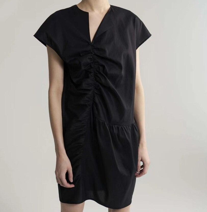 Women Dress 2019 Spring and Summer Asymmetric V neck Crossbody Dress