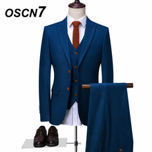 OSCN7 Blue Tailor Made Suits Fashion Event 3 Piece Customize Suit Men Plus Size Casual Custom Made Suit