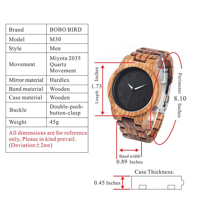 BOBO BIRD Wood Strap Wristwatch Wooden Strap Quartz Watch Gifts relogio masculino 2017 (17)