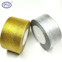 HL 5 Meters Gold And Silver 1-1/2 & 2 Glitter Ribbons Wedding Decorative Gift Box Wrapping Belt DIY Weaving Crafts