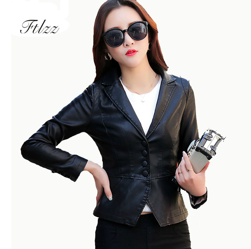 Spring Autumn V-neck   Leather   Jacket New 2018 Women Short Pu Coat Ladies Fashion Slim Plus Size 4xl Black Faux   Leather   Jackets