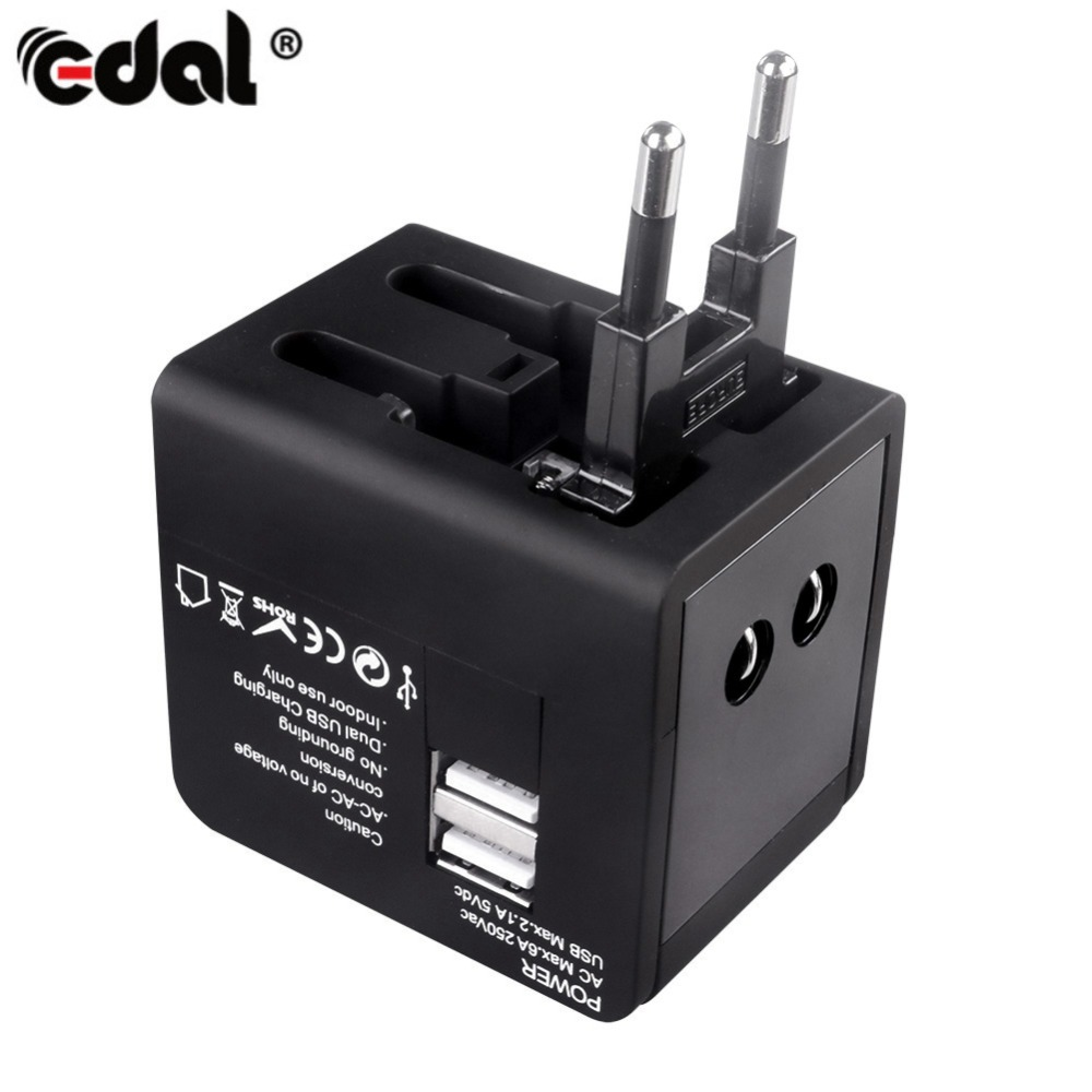 EDAL Universal International Travel Plug Adaptor AU US UK EU Converter Dual USB Wall Power Sockets Smart Charger Adapter
