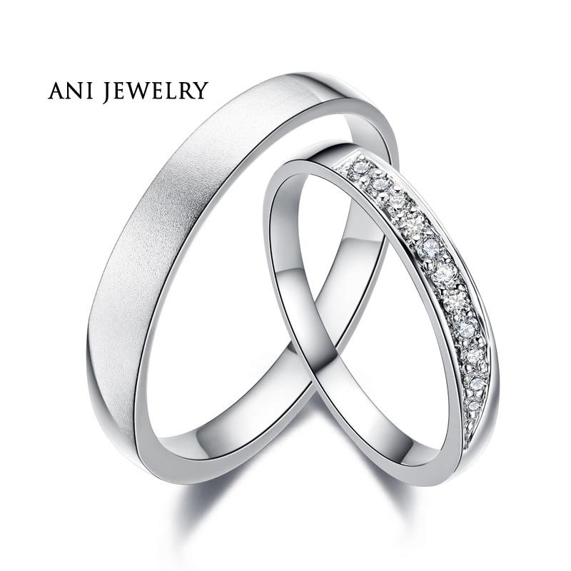 ANI 18K White Gold AU750 Wedding Ring 0 11 CT Certified I SI1 Natural Diamond Jewelry