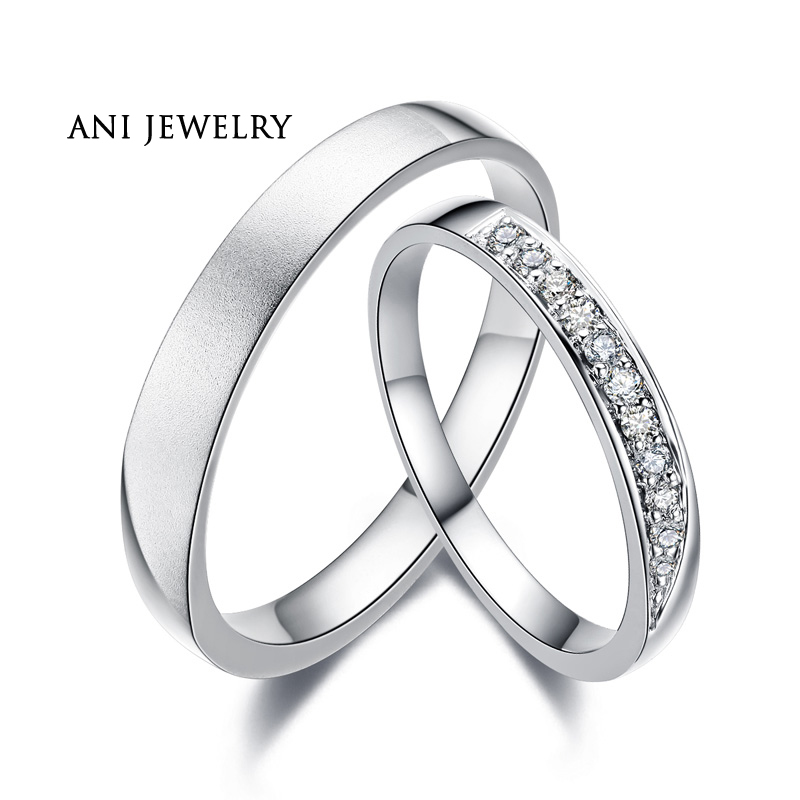 ANI 18K White Gold AU750 Wedding font b Ring b font 0 11 CT Certified I