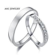 ANI 18K White Gold (AU750) Wedding Ring 0.11 CT Certified I/SI1 Natural Diamond Jewelry Romantic Couple Ring for Lovers Proposal
