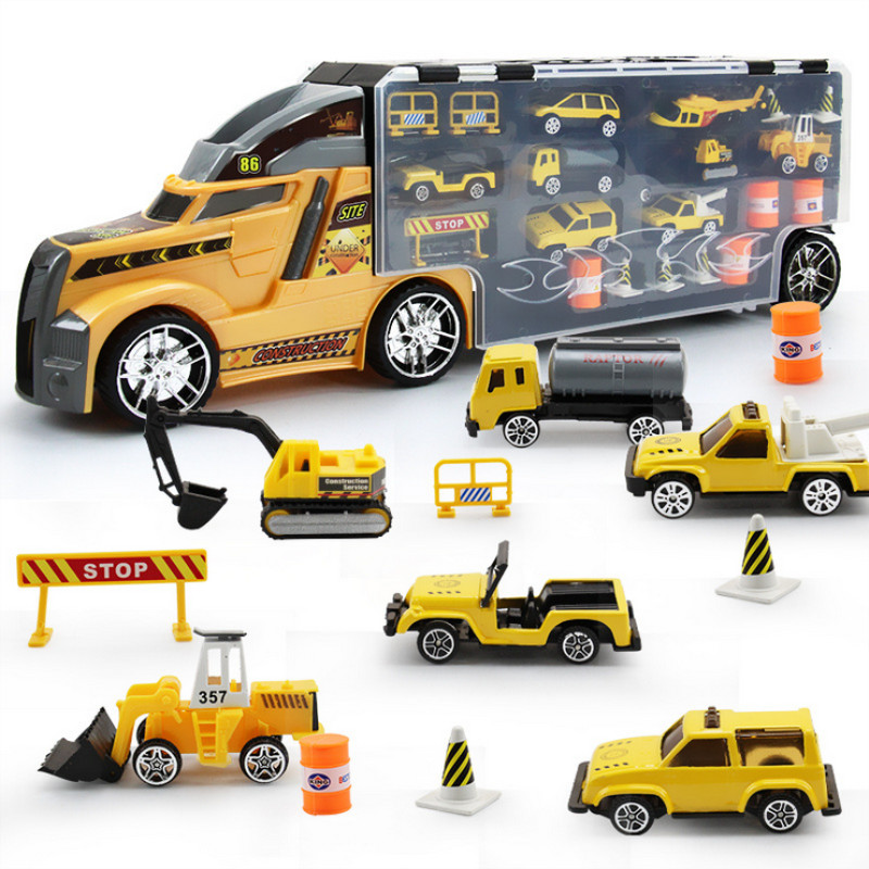 Alloy Diecast Container Truck Racing Car Excavator Military Model Toy Set Portable Children s Toys Christmas
