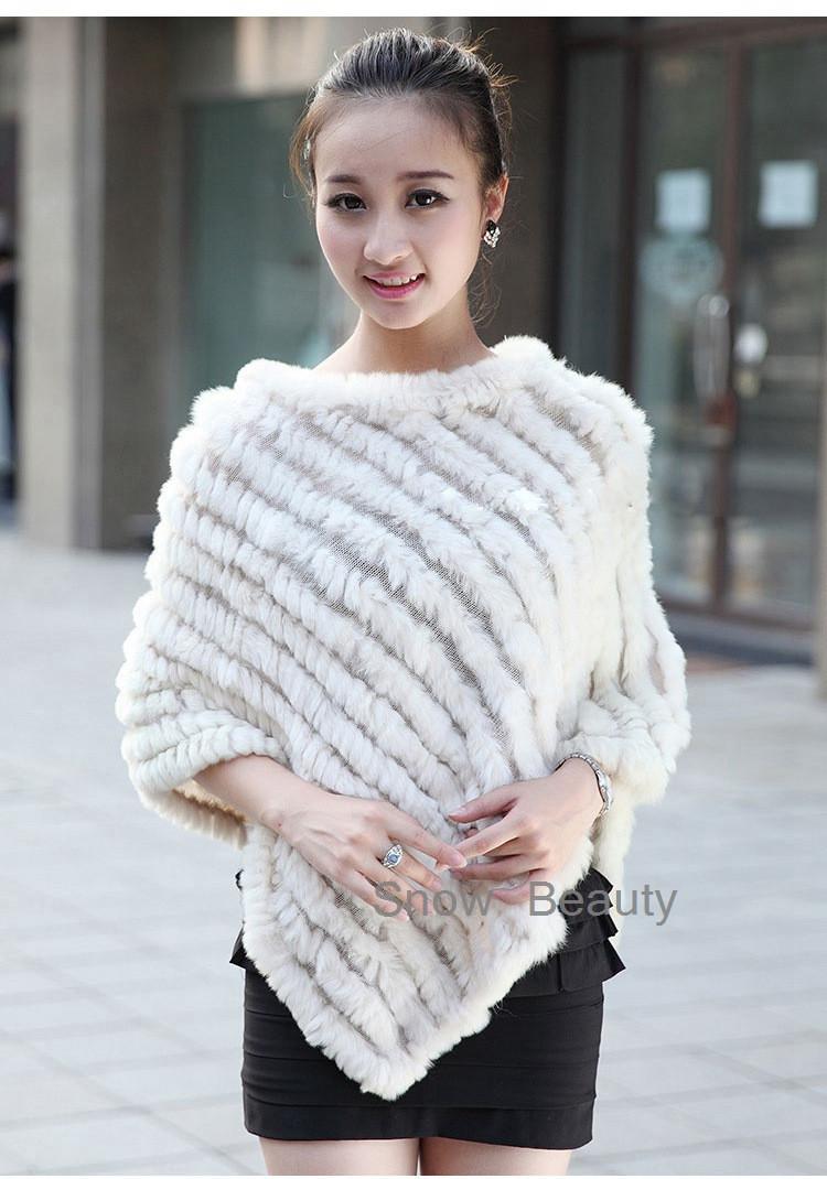 natural real knitted rabbit fur poncho shawl (23)