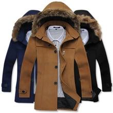 Бесплатная доставка 2014 новых зимних пальто и куртки длинные толстовки мужская Шерсть & Смеси однобортный пальто длинный Меховой воротник моды шерсть