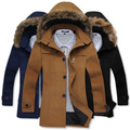O envio gratuito de 2014 novos inverno coats & jackets hoodies longos Lã & Blends casaco single-breasted dos homens longo moda gola de Pele lã