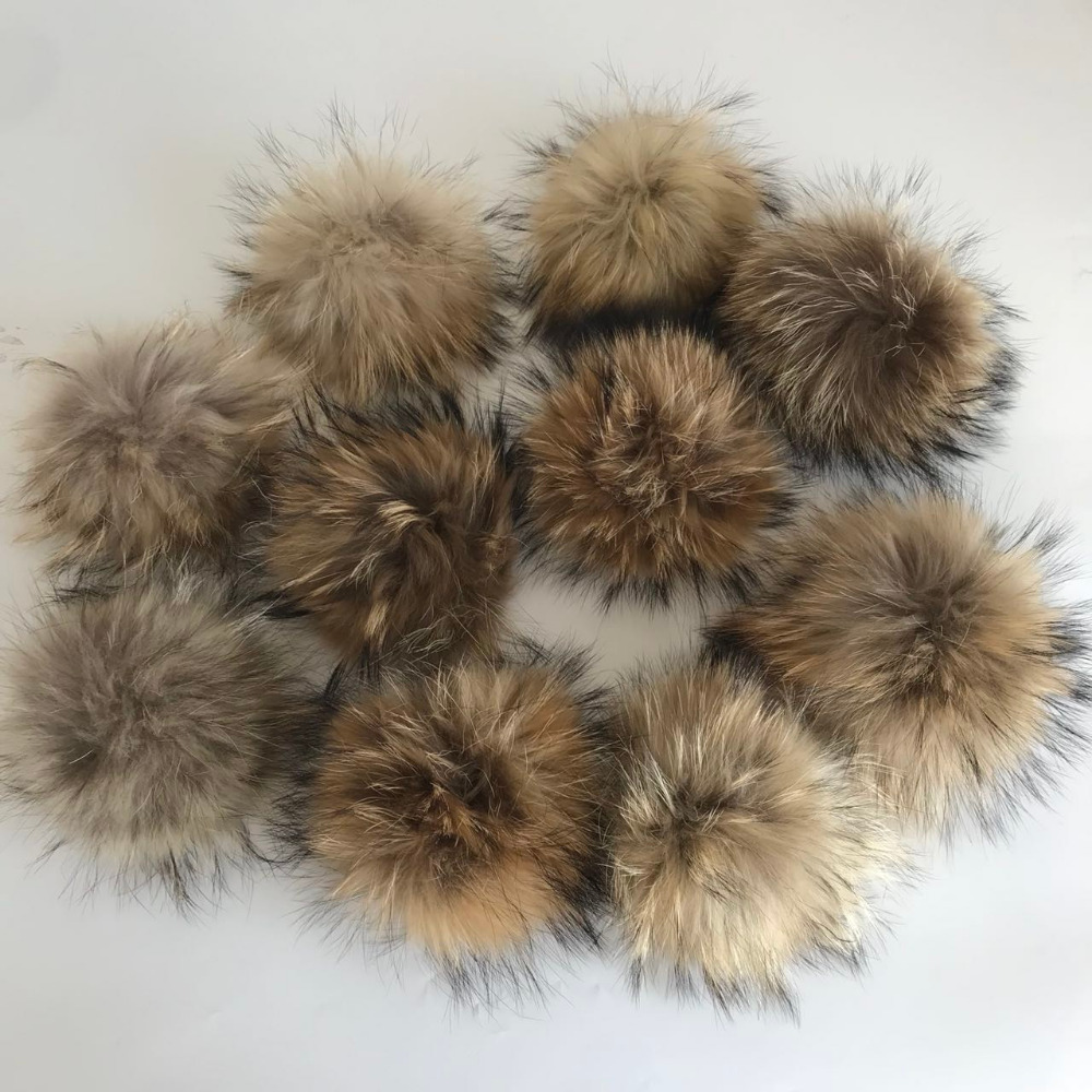Magicfur 10PCS Real Natural Raccoon Fur Ball W Snap Button Pompom For Hat Shoes DIY Accessories