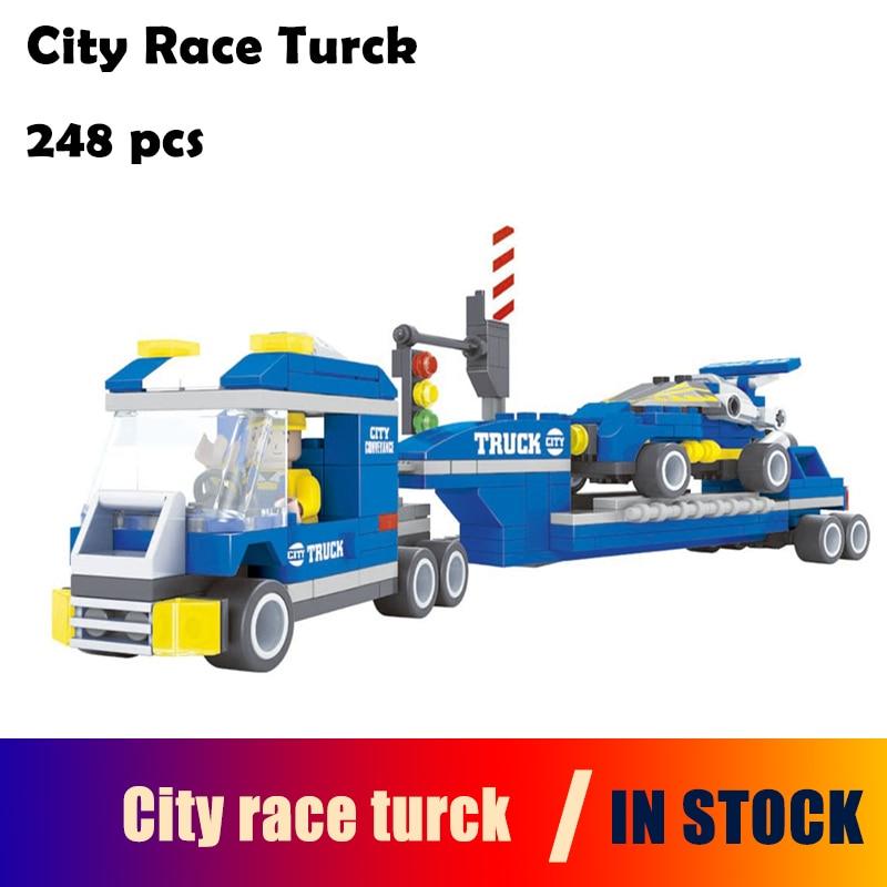 Ausini Model building kits compatible with lego city race turck 3D blocks Educational model & building toys hobbies for children