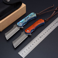 Hysenss Soldier Damascus Tactical Folding Knife VG10 Tanto Blade Wood Shell Handle Outdoor Camping Hunting Survival Pocket EDC