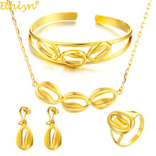 Ethlyn Ethiopian Durable Yellow Gold Color Girls Four-pcs Jewelry Sets, Ladies Fashion Gold Jewellery S310(China)