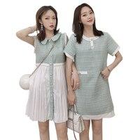 Korean elegant summer women dress tweed patchwork chiffon pleated mini short vest tank dress peter pan collar sleeveless dresses