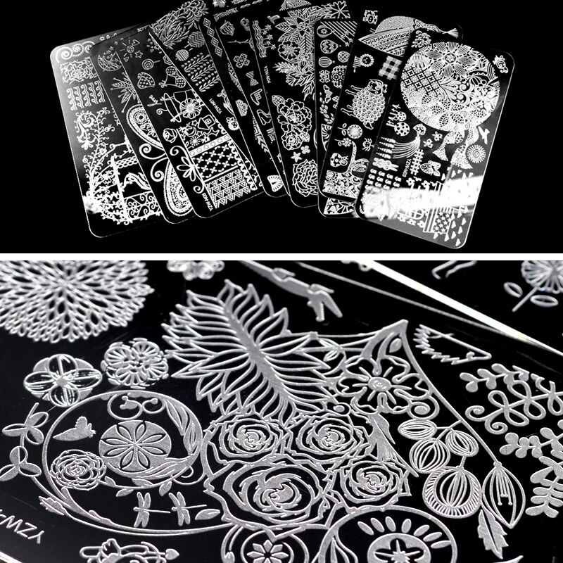 2020 YZWLE Nail Stamping Plates Lace Flower Animal Pattern Nail Art Stamp Stamping Template Image Plate Stencil Nails Tool