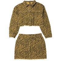 Women 2pcs leopard hippie crop top jacket outwear and skirt set suit cropped xs s m l