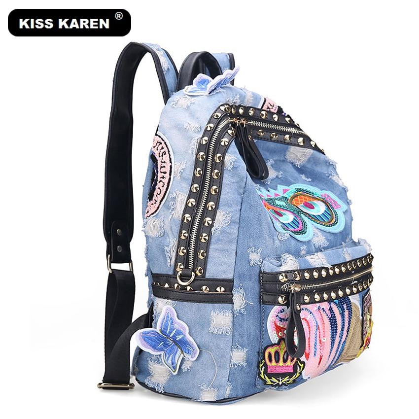 KISS KAREN 패션 여성 배낭 리벳 데님 배낭 청바지 여성용 배낭 소녀 배낭 가방 캐주얼 데이 펙스