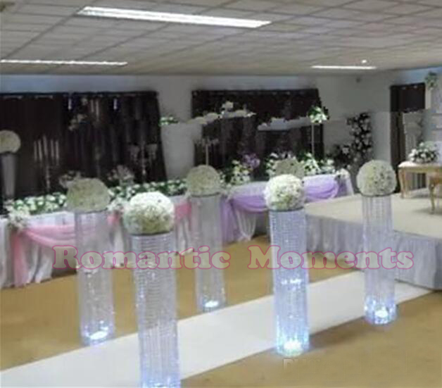 120cm Tall By 25cm Diameter Wedding Crystal Pillar Flower Stand Centerpieces Aisle Road Leads In Vases From Home Garden On Aliexpress