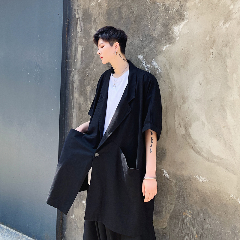 Men Black Jacket Oversize Cotton Linen Short Sleeve Loose Casual Trench Coat Male Streetwear Hip Hop Gothic Thin Outerwear