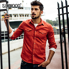 SIMWOOD New Item Fashion Solid Color Turn down Collar Slim With Pocket Two Color Men Shirt