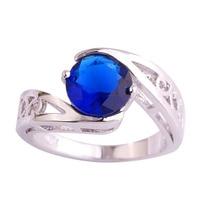 lingmei Wholesale Dainty Women Round Cut Sapphire Quartz 925 Silver Ring Size 6 7 8 9 10 11 Fashion Party Jewelry Free Shipping
