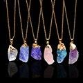 Chapado En oro de Piedra Natural en Bruto Collares Joias Ouro Banhado Amethyst Crystal Druzy Azul Colgante de Collar De Cuarzo Para Las Mujeres