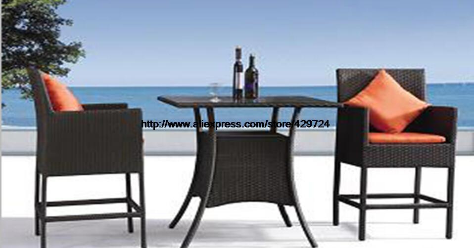 Extérieur Bar chaise Table classique rotin jardin ensemble loisirs osier jardin plage hôtel vacances Bar Table 2 chaise ensemble rotin ensemble