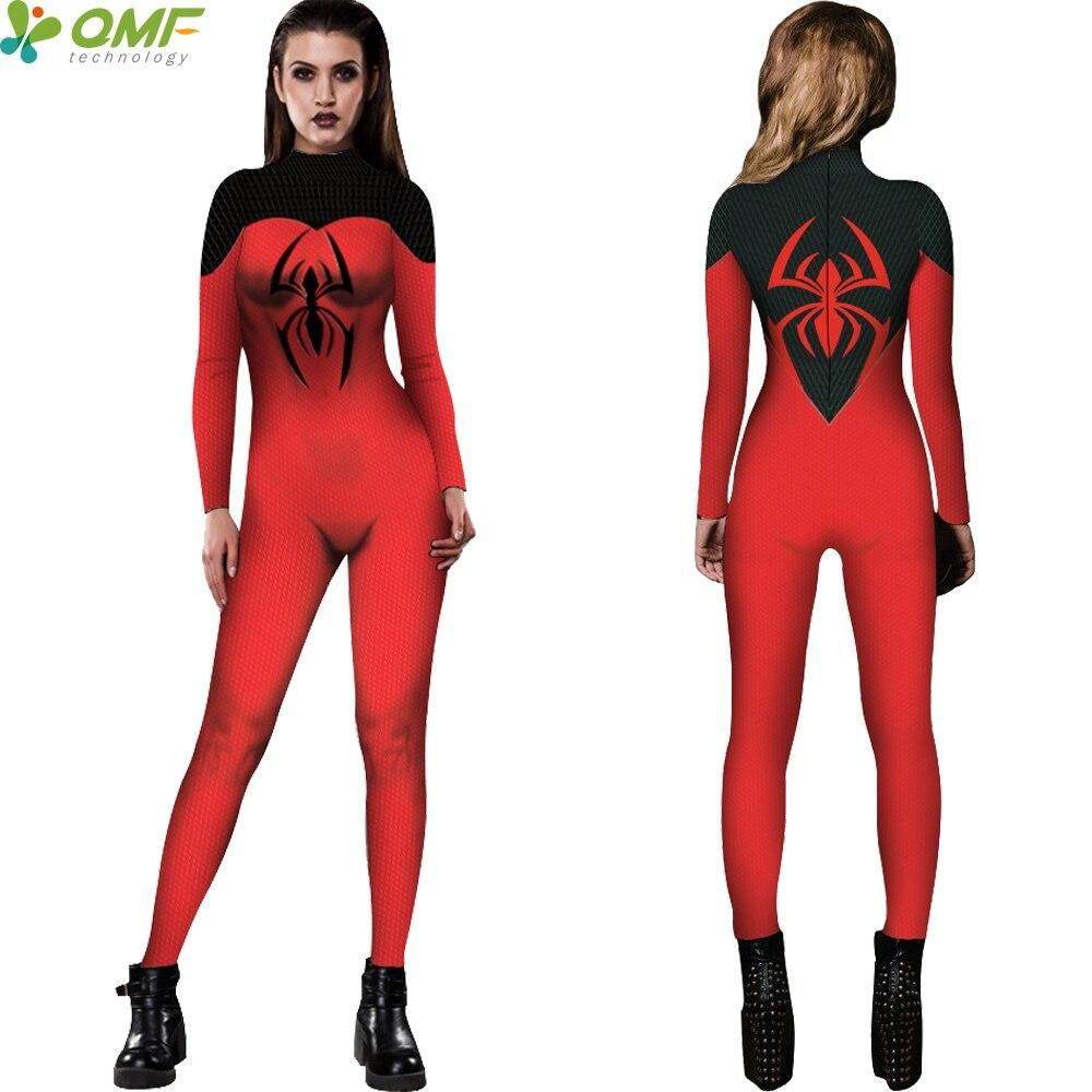 red black spider man cosplay jumpsuits swimwear halloween surfing rash guard swimsuit bodycon long sleeve women bodysuit zipper - Halloween Swimsuit