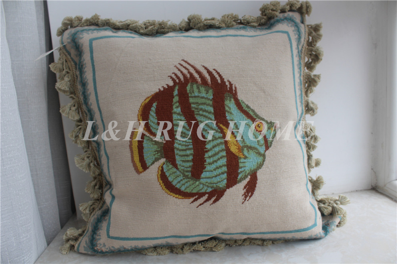 FREE SHIPPING 15K 20X20 Needlepoint pillow, handknotted cushion with floral designs no insertion