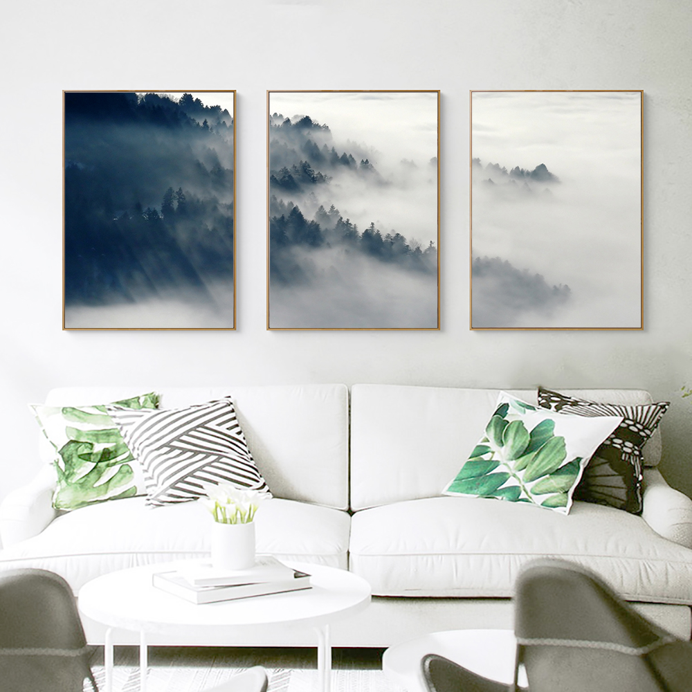 Simple Nordic Decoration Fog mountain forest Canvas Painting Wall ...