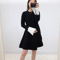 2016 winter vrouwen nieuwe muur crack en aanbevolen lange mouwen gebreide jurk kleine zwarte jurken godin temperament
