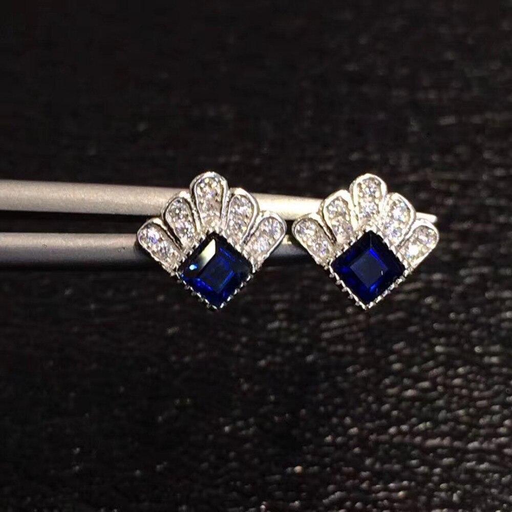QI Xuan_Fashion Jewelry_Dark Синий Камень Роскошный цветок Earring_S925 Твердые Щепка Мода шпилька Earrings_Manufacturer непосредственно распродажа