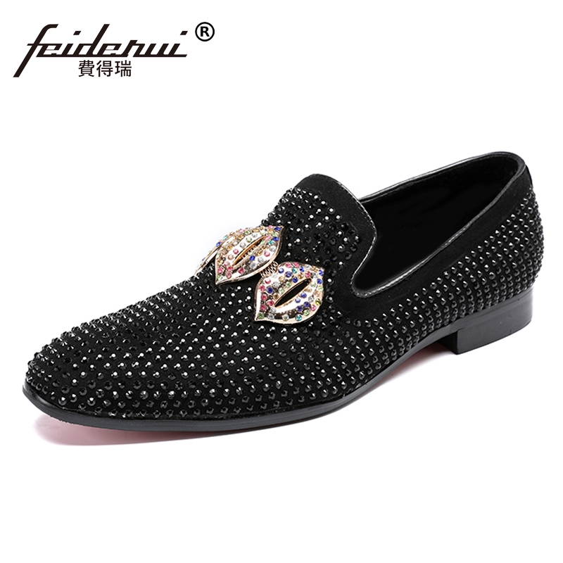 Plus Size Luxury Man Cow Suede Leather Moccasin Banquet Party Loafers Round Toe Slip on Men's Rhinestone Casual Shoes SL212 round toe suede slip on plimsolls