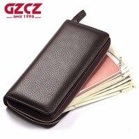 GZCZ Leather Wallet Long Purse Wallet Luxury Male Genuine Leather Wallet Men Zipper Purse Male Wallet