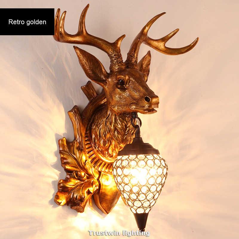 Moderne Pour Mouton Art Décoratif Rétro Cristal Cerf Salon Ram Murale Lumière Lampe Buck Applique Led Chèvre byfgY76