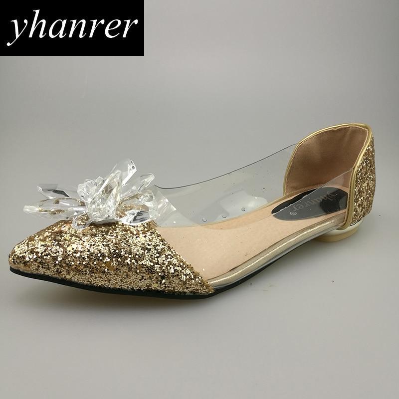 Novas Flores de Cristal Flores Transparentes Flats Sapatos - Sapatos femininos