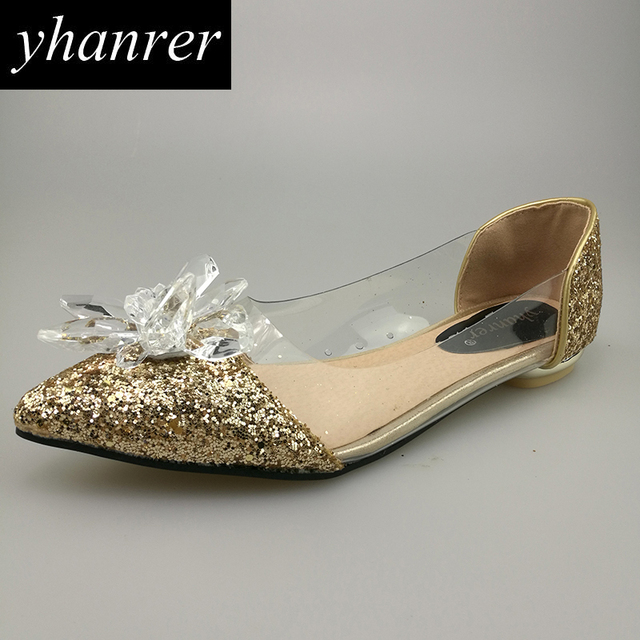 e186fadc386b New Women s Crystal Flowers Transparent Flats Shoes Sequins Pointed Toe Shallow  Golden Silver Colors Shoes Size 35-39 K286