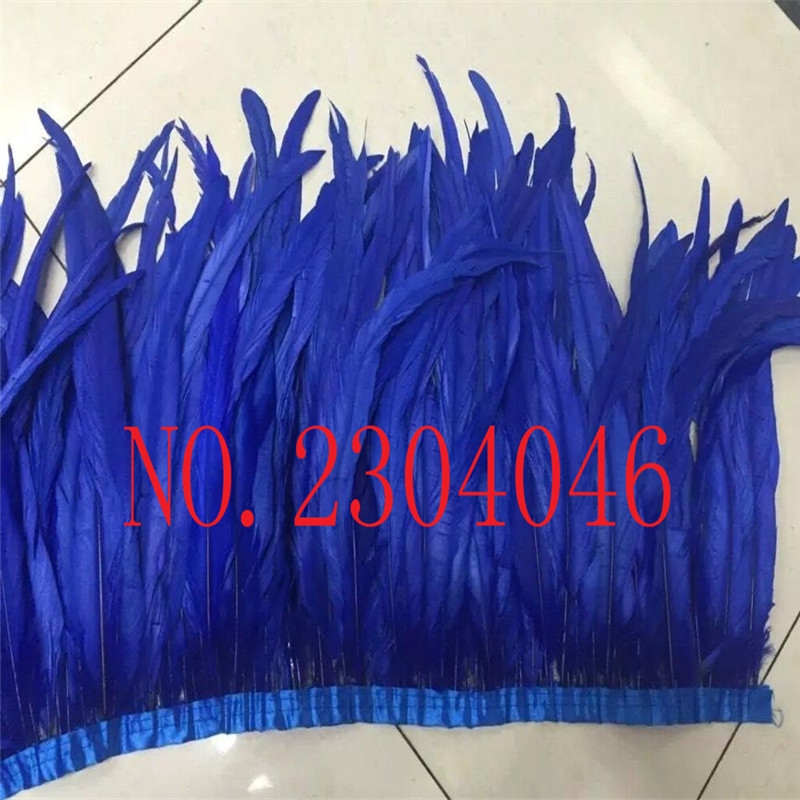 1 meter natural natural rooster tail hair dyed blue treasure 30-35cm (12-14 inches) feather cloth DIY decorative arts and crafts