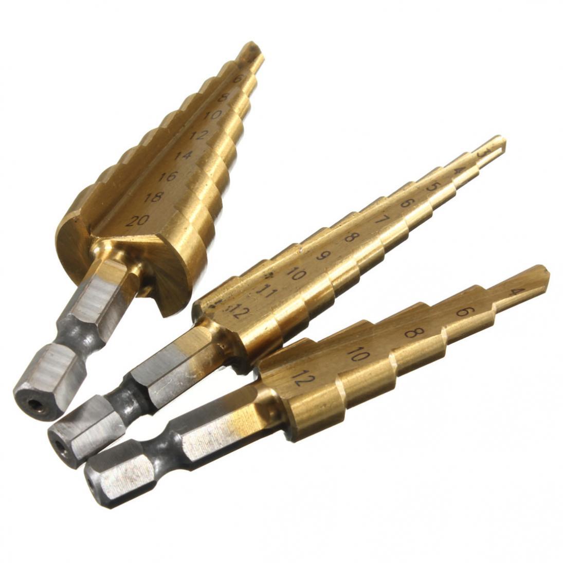 3pcs Stepped Drill Bit Sets 3-12mm 4-12mm 4-20mm Taper Drill Bits For Metal Power Tools Accessories Tltanium Bits
