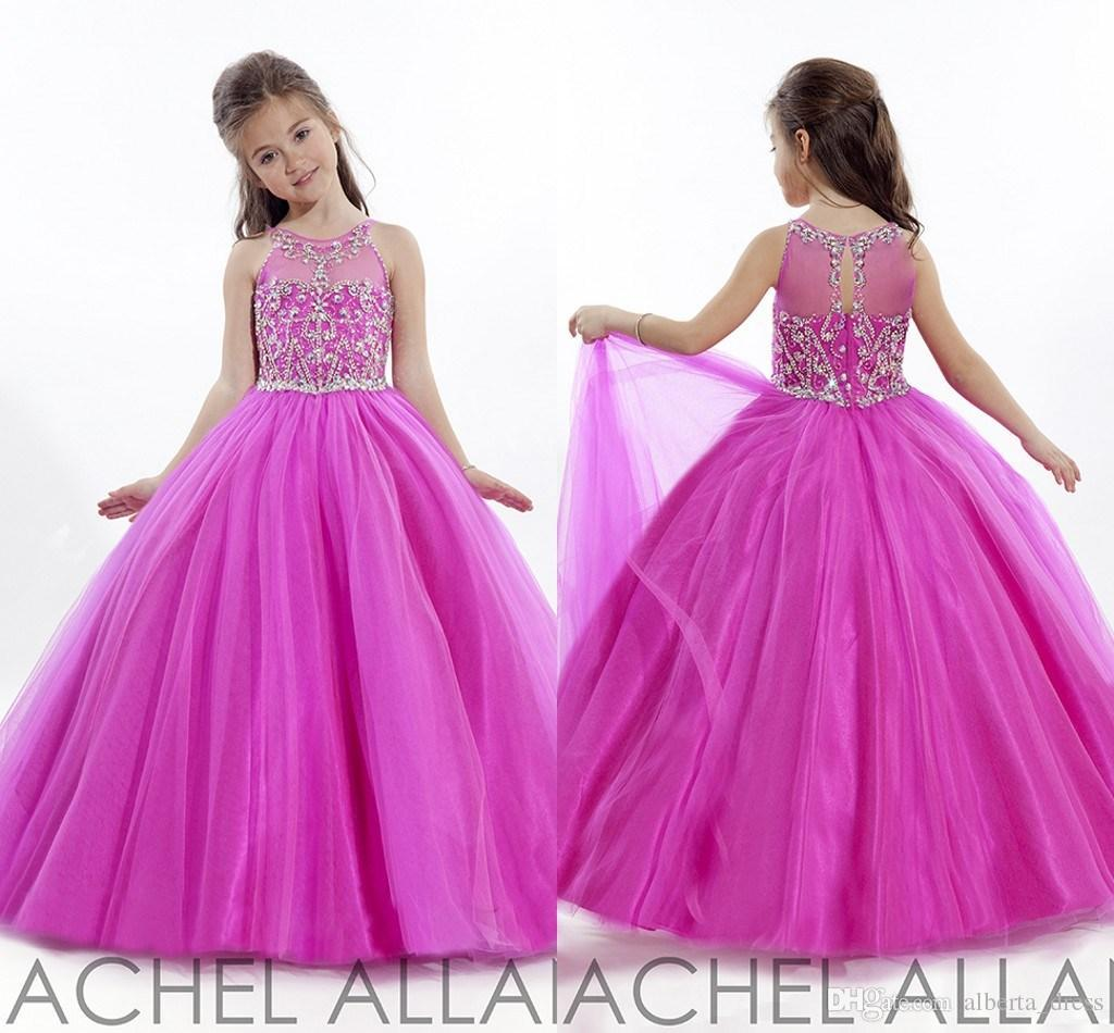 Princess fuschia 2017 little girls pageant gowns tulle flower girl princess fuschia 2017 little girls pageant gowns tulle flower girl dresses for weddings cheap crystals beaded ball gown f278 in flower girl dresses from izmirmasajfo