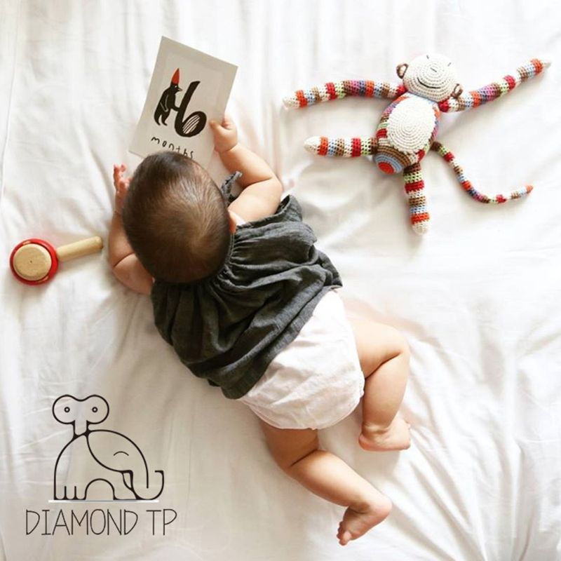 Month Card Baby Photography Photo Cards Monthly Newborn Photos Funny Cartoon Decoration Creative Commemorative 20 Pcs/Set
