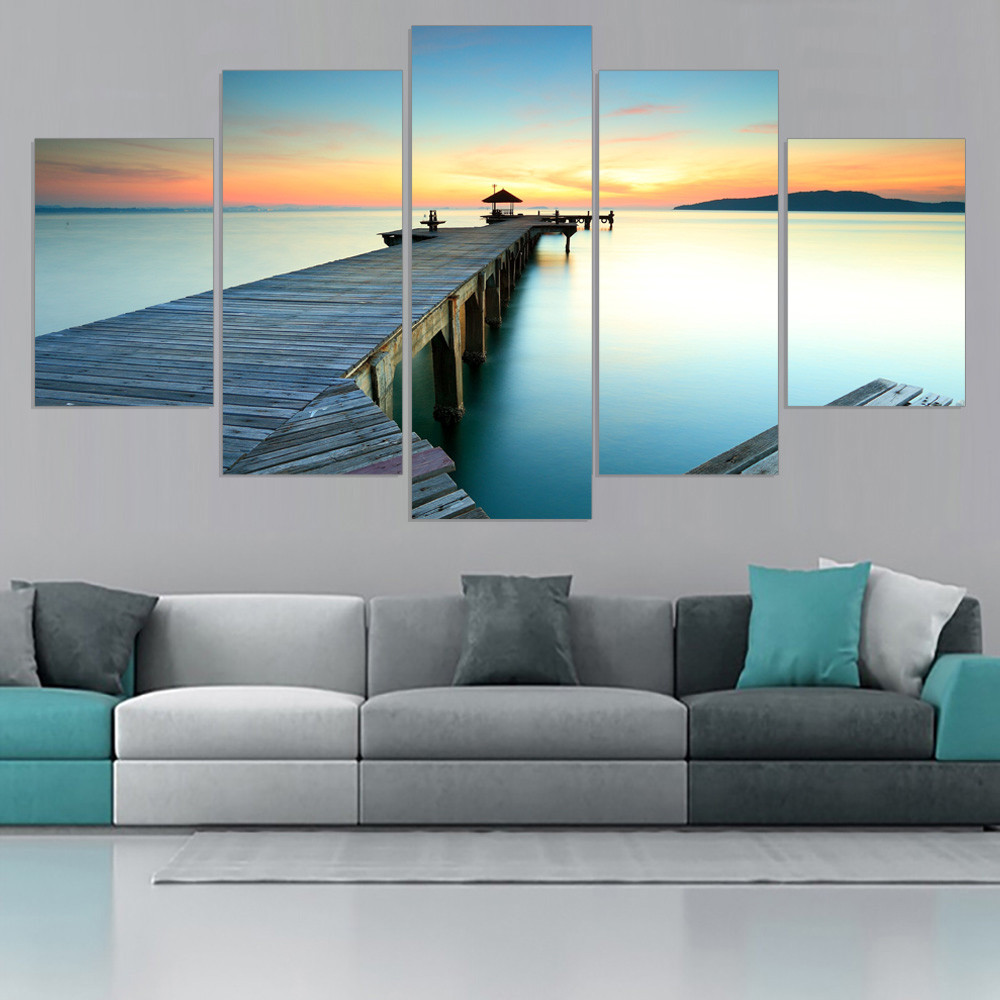 5 Panels Canvas Art Sunset Oil Painting Wall Art Canvas Picture HD Art Print Home Decor Modular Painting for Livingroom Unframed