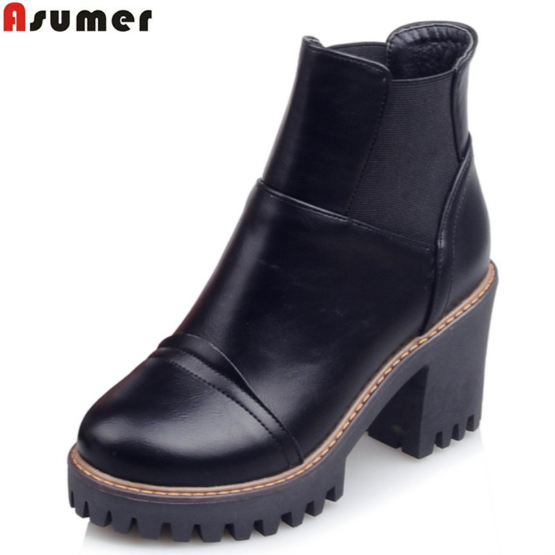 Asumer plus size 33-43 2016 autumn winter high quality ankle boots thick high heels roun ...