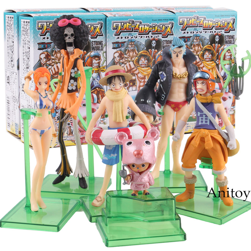 Anime One Piece Strong World Luffy Nami Chopper Usopp Franky Brook PVC Action Figure One Piece Collectible Model Toy 6pcs/set 9pcs set anime one piece pvc action figure luffy nami sanji zoro robin franky chopper brook usopp action figure model toys gift