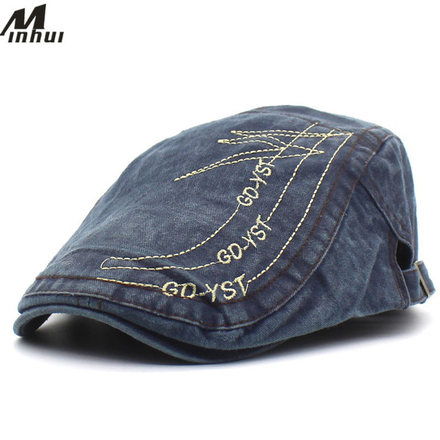Minhui 2018 New Denim Beret Unisex Leisure Caps Trendy Letters Embroidery  Hats for Women Men Flat aede0db01c8