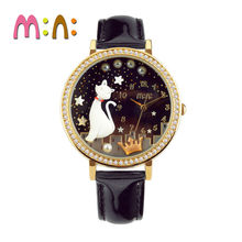 MINI Kids Watch Women Fashion With Diamond Cute Simple women watch Waterproof Korea Cat Star for Children Leather clock