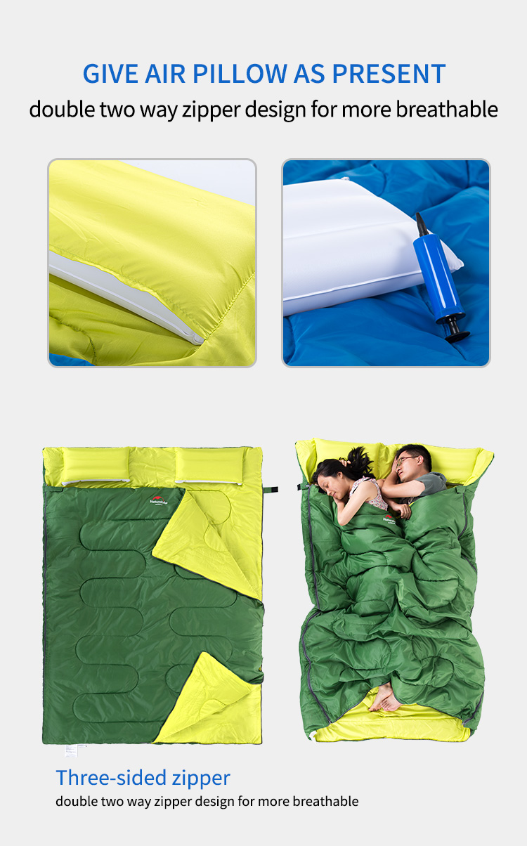 Naturehike 3 Season Sleeping Bag Cotton Outdoor Camping Double Tourist Equipment With Pillow