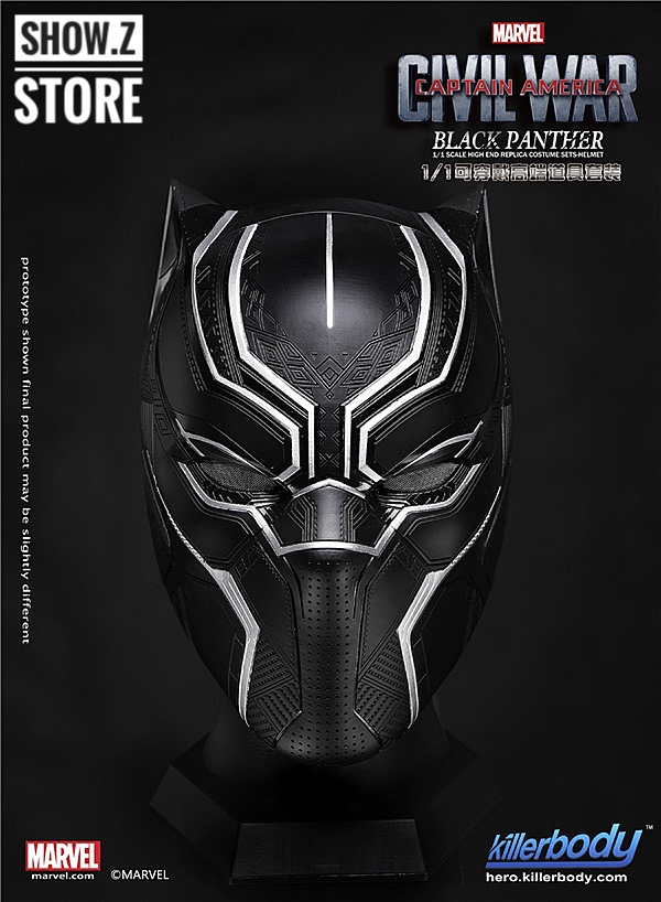 [Show.Z Store] Killerbody Civil War 1/1 Scale Black Panther Helmet Avengers Cosplay Full Size Authentic captain america civil war black panther helmet 1 1 scale hallowmas party cosplay helmet black panther pvc action figure kids toy