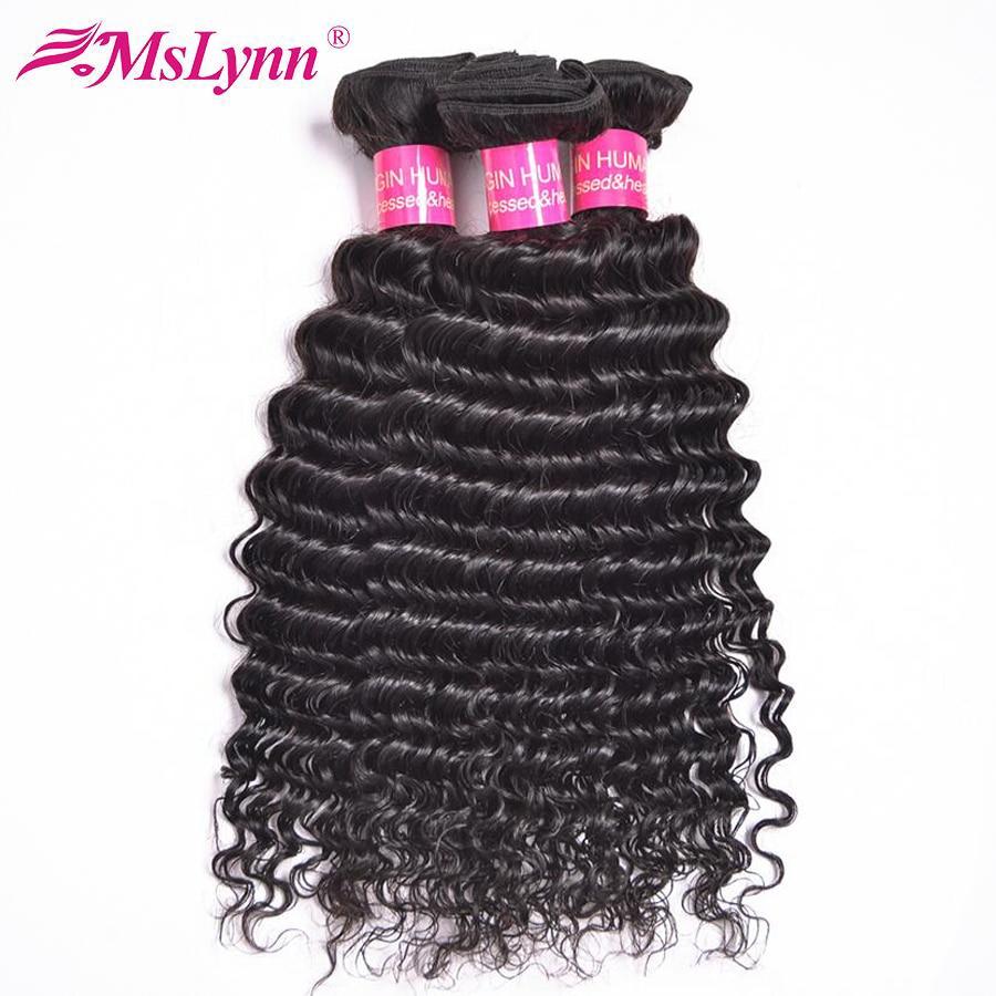 Mslynn Brazilian Deep Wave Bundles Deals Human Hair Weave Bundles 100 Remy Hair Extensions 10 28