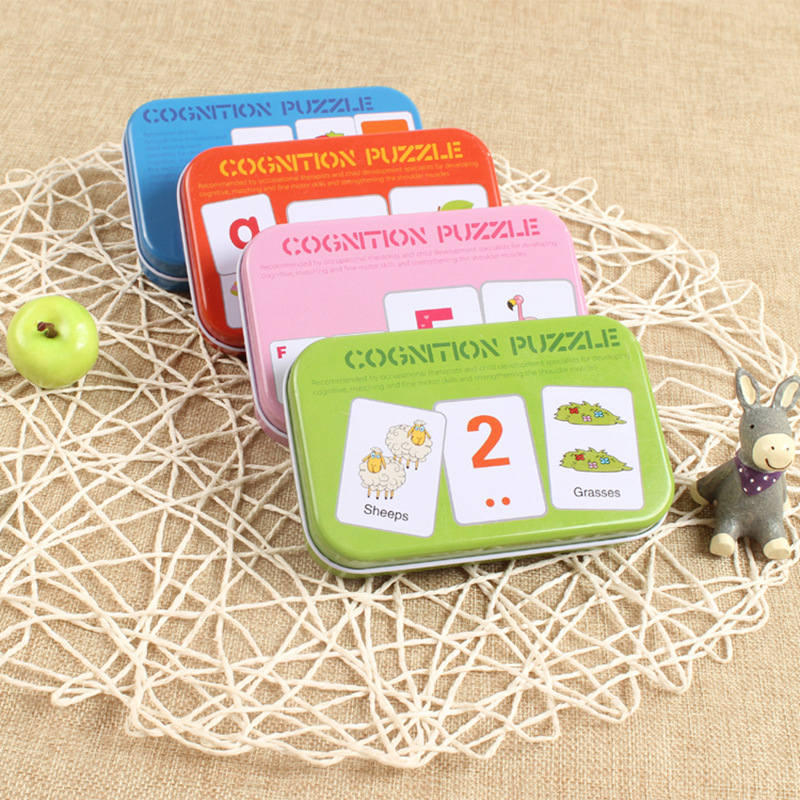 Baby Puzzle Toys Iron Box Puzzle Card Learning Chinese English Fruit Animal Traffic Educational Montessori Kindergarten Supplies